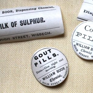 Labels from Boors Chemist |  Taleyna Fletcher / from display at Wisbech and Fenland Museum
