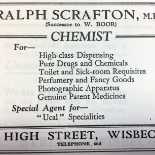 Advert for Scraftons Chemist from Kellys Directory, 1933 | Kelly's Directory, 1933