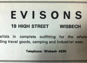 Advert for Evisons, 1975-6 | Veals Directory 1975-6