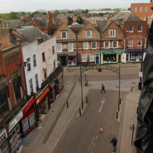 View of the High Street towards York Row from the Cherry Picker, April 2017 | Taleyna Fletcher