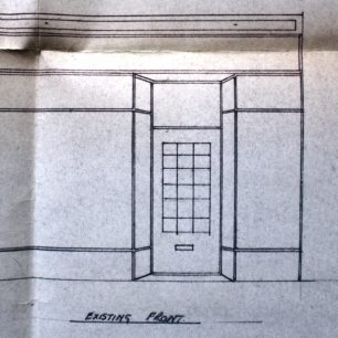 Architects drawing of existing shop front, no. 22,  1970 | from FDC planning files