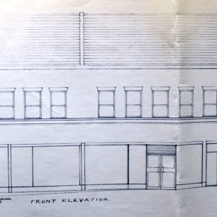 Architects drawing of proposed new shop front for No.25-27, 1967 | from FDC planning files