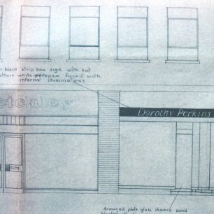 Architects proposed drawing for a new shop front, 1966 | from FDC planning files