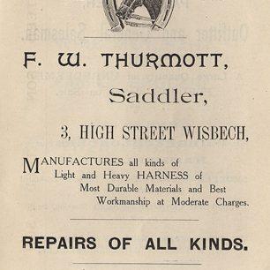 Advert from 1907 for F W Thurmott, Saddler | Piggotts Directory, 1907