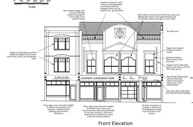 Architects drawing of proposed elevation for 13-17 High St, Wisbech | Anglia Building Consultants
