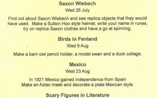 Programme of Children's Workshops at the Wisbech & Fenland Museum