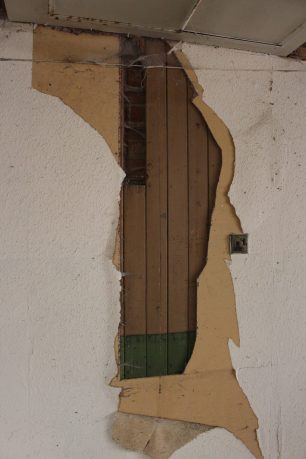 Wood panelling surviving behind plasterboard, 1st Floor, 13-17 High Street | Taleyna Fletcher