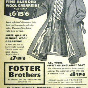 Foster Bros Ad, Wisbech Standard, 1956 | Wisbech & Fenland Museum / Wisbech Standard