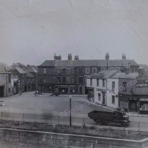 View from Hall, Miller and Neaverson's on West side of River Nene looking at Albion Place and entrance to the Horsefair