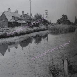 View from East bank of Canal (Elm High Road) between New Common Bridge and Elm Bridge and looking along Canal towards Wisbech