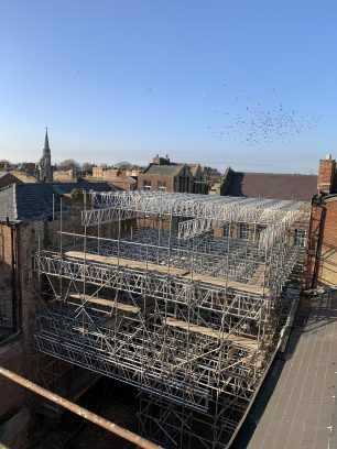 Scaffolding and propping, rear of 11-12 High St | Taleyna Fletcher